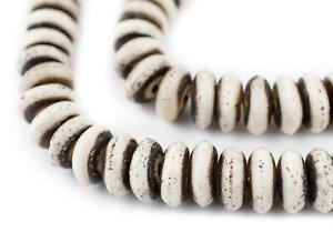 Grey Round Bone Mala Beads 6mm Nepal Large Hole 22 Inch Strand