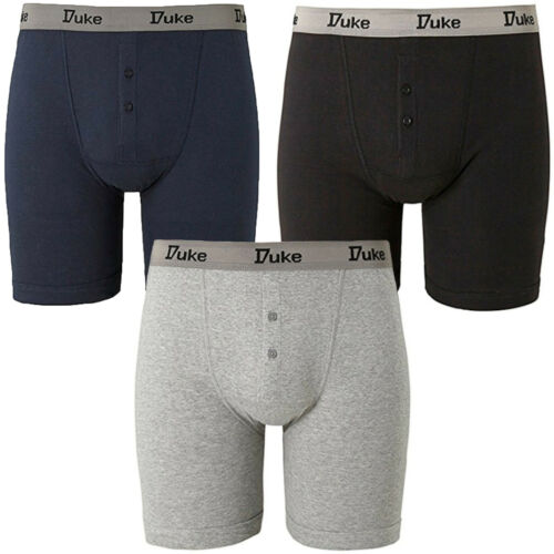 Duke D555 Mens King Size Big Tall 3 Pack Buttonfly Cotton Boxer Shorts Trunks