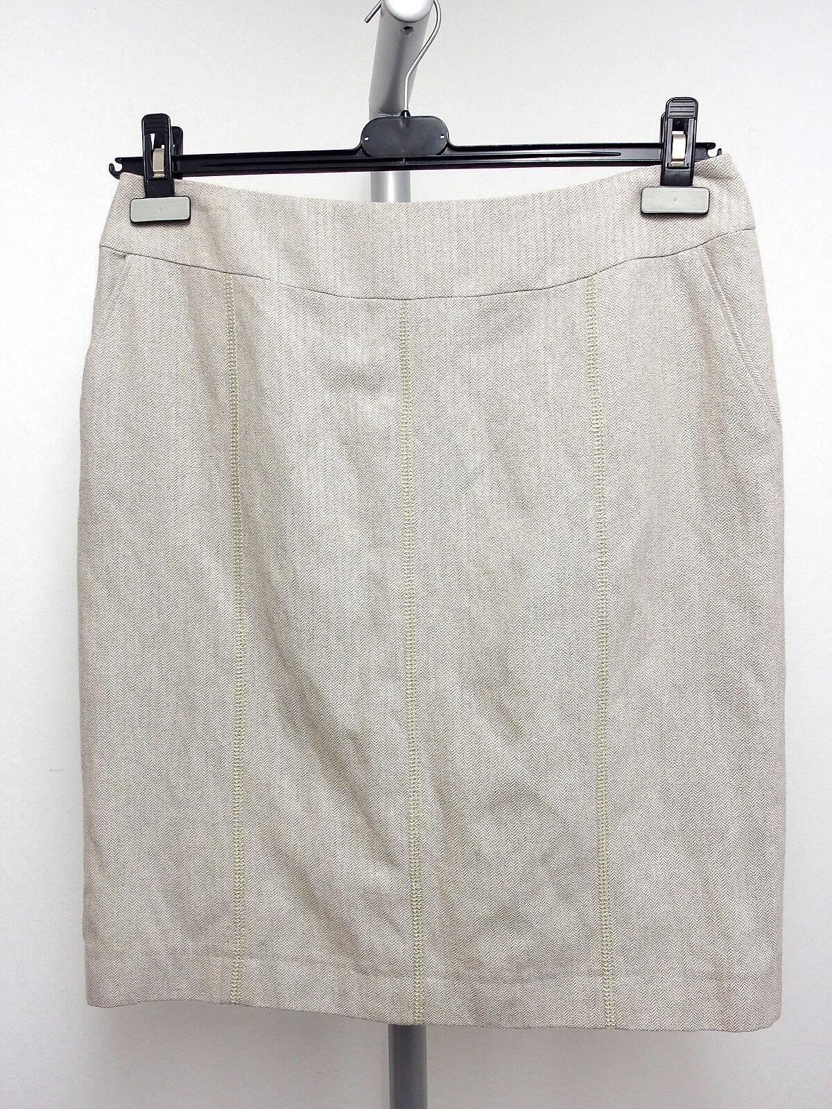 189 NEU AMBIENTE Designer Rock Skirt Gr.38 Baumwollmischung Fischgrät Beige