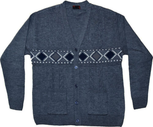 Mens Knitted Cardigans Big PLUS Sizes 3XL to 6XL Front Button Closure