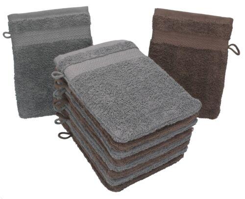 Betz 10 Stück Waschhandschuhe Waschlappen PREMIUM 16x21cm nussbraun /& anthrazit