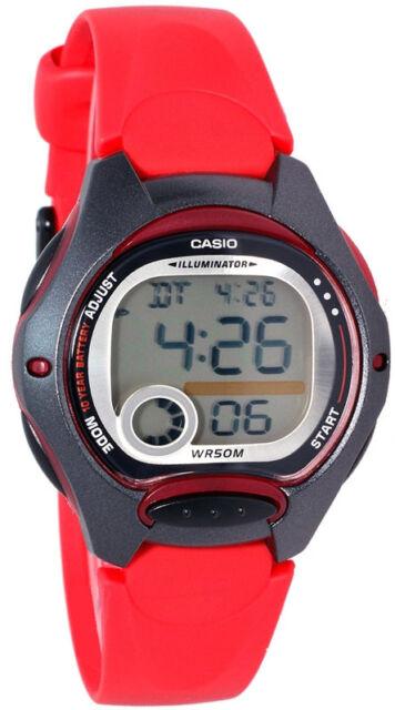Casio LW-200-4AV Ladies Red Digital Watch 10 Year Battery LED Light Brand New