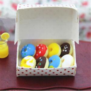 1-Box-Dollhouse-Miniatures-Food-Mixed-Doughnut-Paper-Box-Bakery-Dessert-Supply