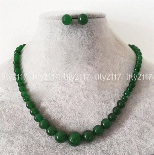 "6-14 mm Naturel Vert Jade Ronde Pierres Précieuses Perles Collier Boucles d/'oreilles Set 18/"" AAA"