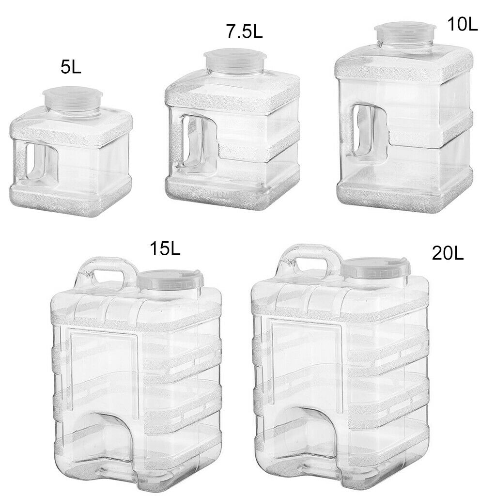 Square Plastic Large Water Bottle Jug with Handle BPA Free Camping Picnic