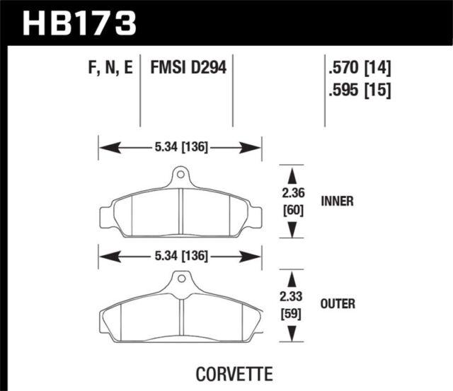 Hawk 84-87 Chevy Corvette 5.7 HPS Street Front Brake Pads (HB173F.570)