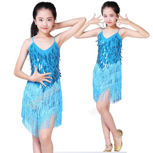 Girls Latin Dance Costume Competition Dress Kids Children Performance Sequins