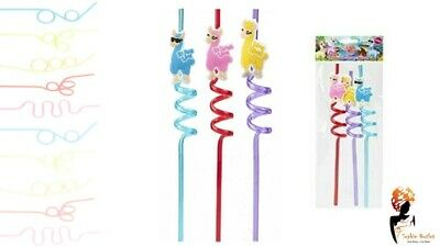 3x NOVELTY UNICORN STRAWS Curly Twisty Assorted Coloured Kids Party Bag Drinking