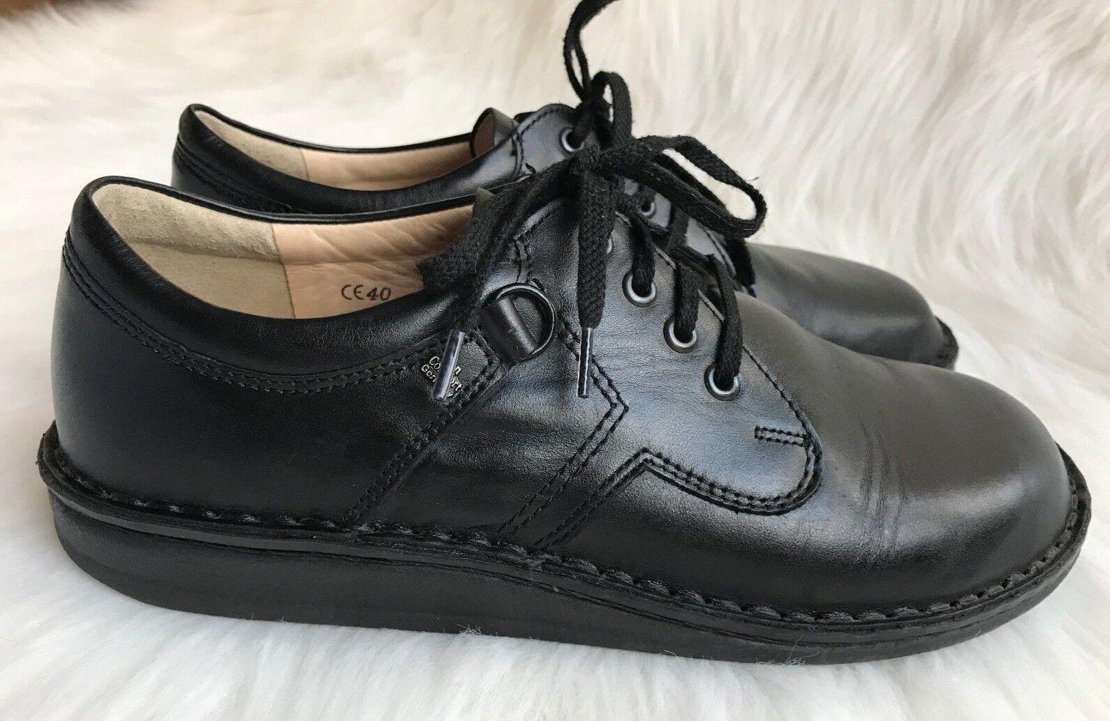 Men'sFinn Comfort Vaasa Black Leather Lace-Up Oxford shoes Sz EU 40 (US 7-7.5)