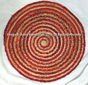 36-034-Indian-Handmade-Round-Jute-Rug-Reversible-Door-Mat-Bohemian-Floor-Yoga-Mat