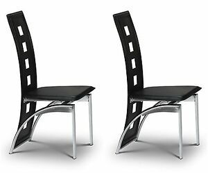 Image Is Loading 2x Dining Chairs Set Black Faux Leather Pair