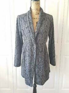 SOMA lounge wear gray floral single button soft blazer or jacket size Large