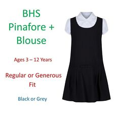 BHS Girls School Pinafore Dress Blouse Age 3-12 Grey Black Generous Sturdy Fit