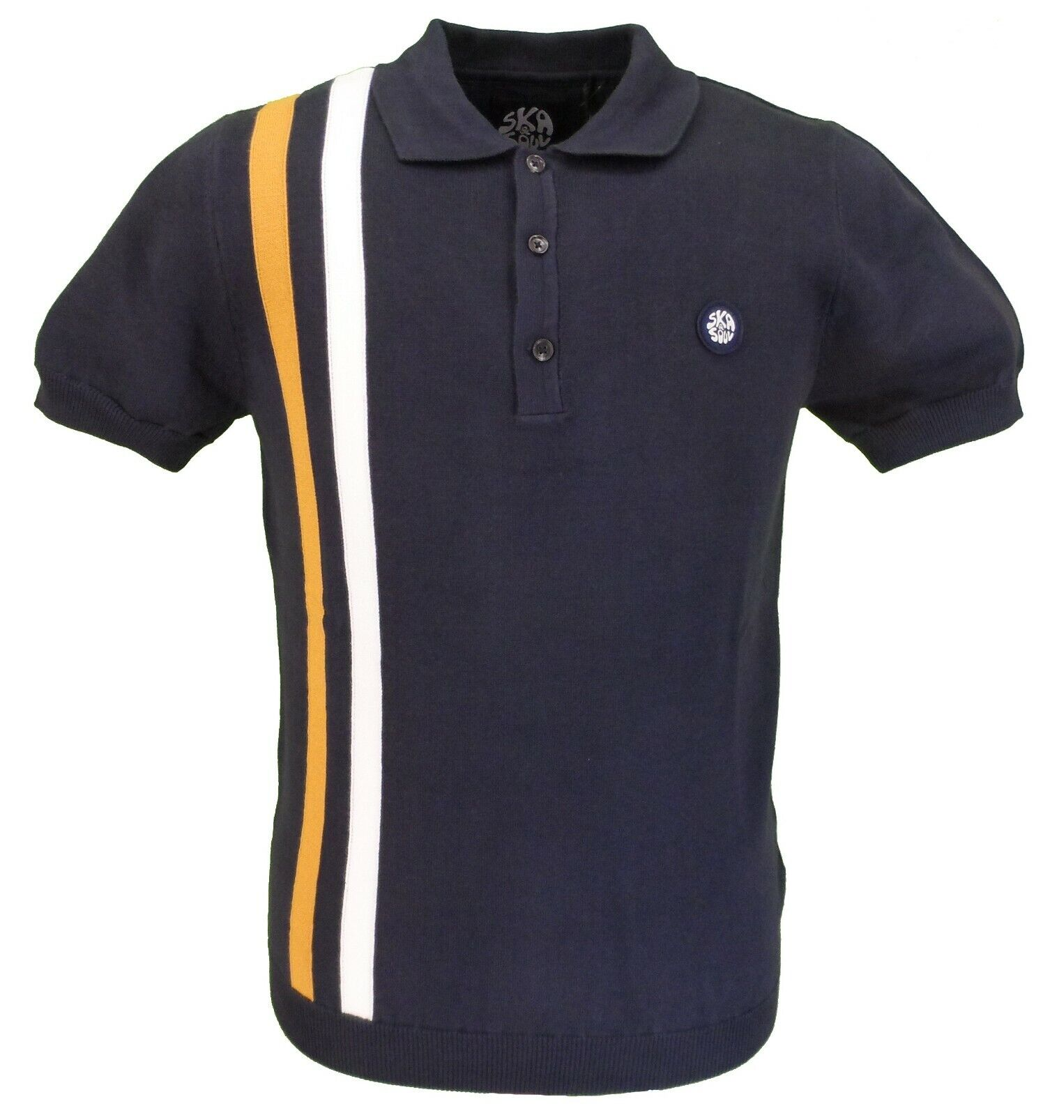 Ska & Soul Navy Knitted Racing Stripe Stripe Stripe Polo Shirt | Discount