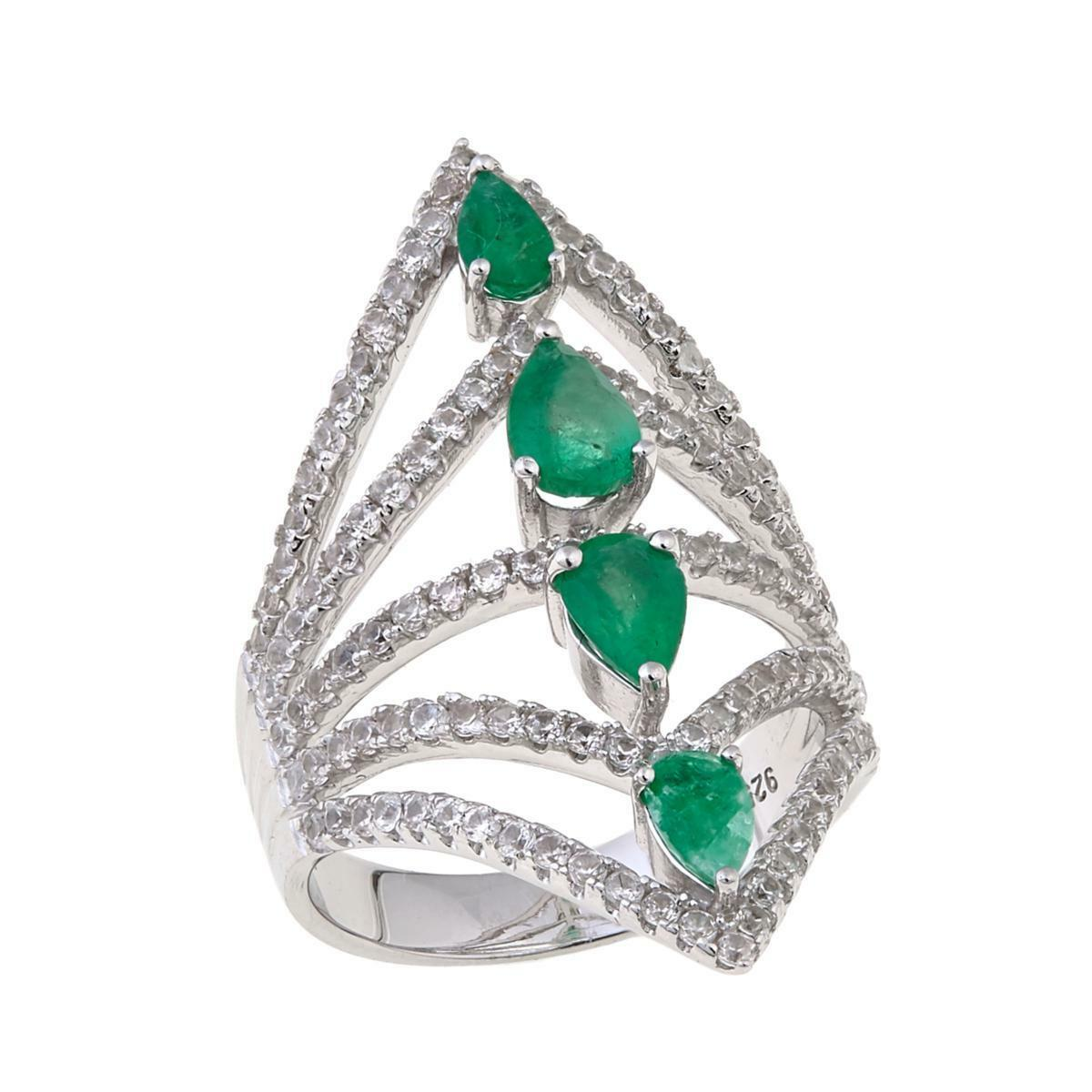 RARITIES CAROL BRODIE 1.84 CTW TRIANGULAR EMERALD NEGATIVE SPACE RING SIZE 6 HSN
