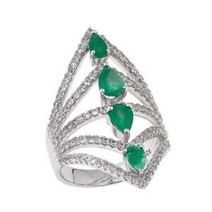RARITIES-CAROL-BRODIE-1-84-CTW-TRIANGULAR-EMERALD-NEGATIVE-SPACE-RING-SIZE-5-HSN