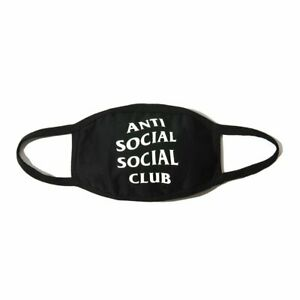 Anti Social Social Club Assc White Logo Face Mouth Mask Black New Ebay