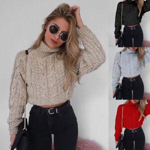 e7a257e4491fd6 Women Winter High Collar Sexy Crop Tops Knitted Pullover Sweater ...