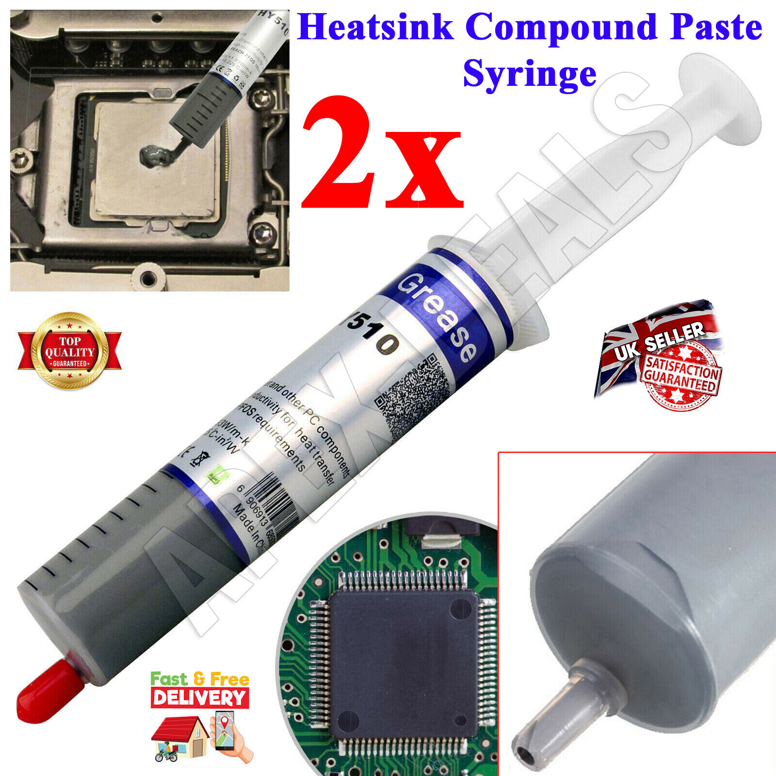 2 x Grey Thermal Grease Heatsink Silicone Compound Paste Syringe Computer PC CPU