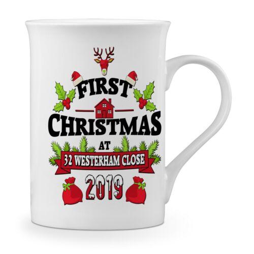 Premier Noël à nouvelle adresse Festif Fantaisie Fine Bone China Mug