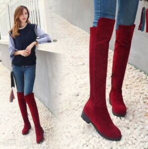 Womens-Knee-High-Boots-Flats-Faux-Suede-Casual-Knight-Boots-Zipper-Shoes-Plus-Sz