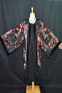 til Kunst Hippie Gypsy Jacket Fringe Black Velvet Kimono Festival Burnout Classic Hqdqxrf