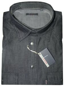 CAMICIA-UOMO-Jeans-manica-lunga-taschini-M-L-XL-XXL-XXXL-100-COTONE-denim-NERO