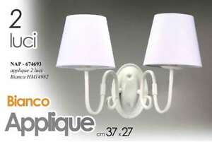 Applique 2 luci muro parete 27*37 cm metallo lampadario bianco nap
