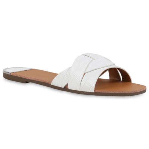 Damen Pantoletten Sandalen Krokoleder-Optik Flache Freizeit 834354 Schuhe