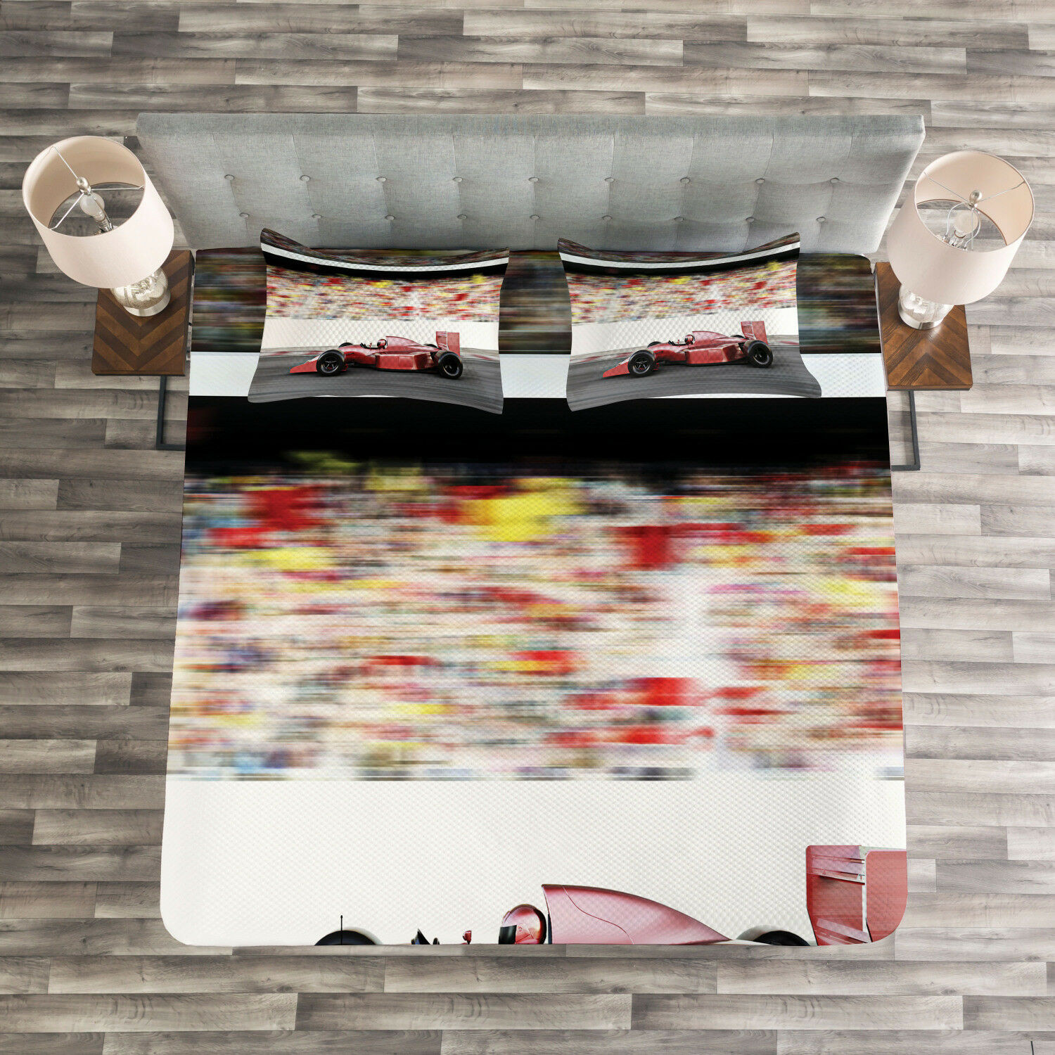 Autos Quilted Bedspread & Pillow Shams Set, rot Race Car Side View Print