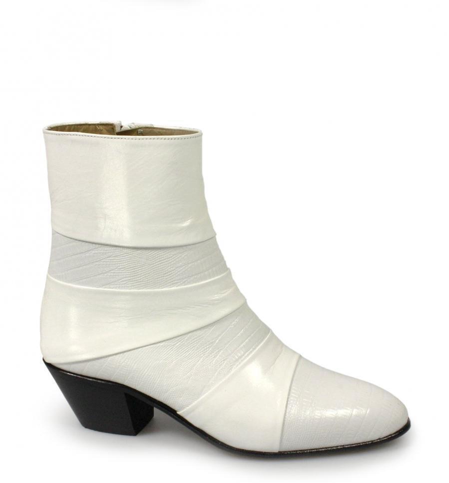 Da Uomo Tacco Cubano fatto a mano SPAGNOLO Super Morbido Rettile Stivali in Pelle Bianco Nuovo