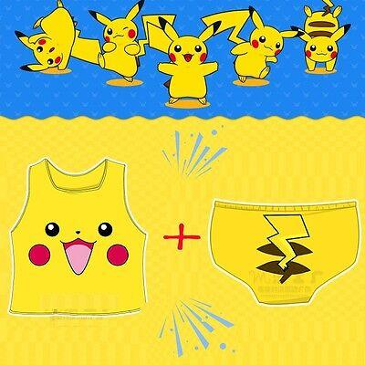 Sexy Cute Cosplay Pokemon Pikachu Camisole Crop Tops Vest Tank Tops + Panties