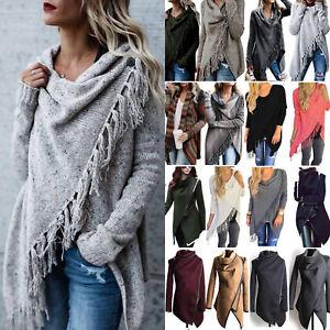 Women-039-s-Irregular-Tassel-Knit-Cardigan-Sweater-Coat-Poncho-Shawl-Jumper-Outwear