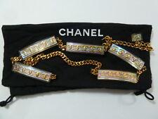 CHANEL Vintage CC Shimmer Lucite Statement Chain Necklace Belt w Bag