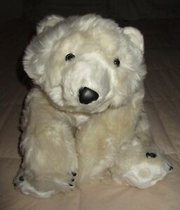 "POLAR BEAR stuffed toy HUG RUG bearskin 26"" plush DITZ weighted beanie therapy"