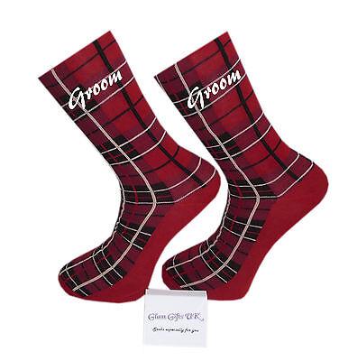 Hilfreich Red Tartan Design Wedding Socks, Groom, Best Man, Usher