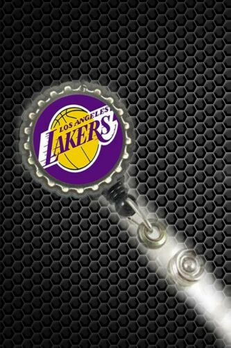 Los Angeles La Lakers  work Retractable Reel ID Badge Holder nurse secretary cna