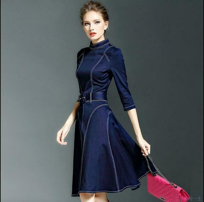 Fashion womens Sexy Fit jean denim Slim dress Mid sleeve coat ball gown dress@11