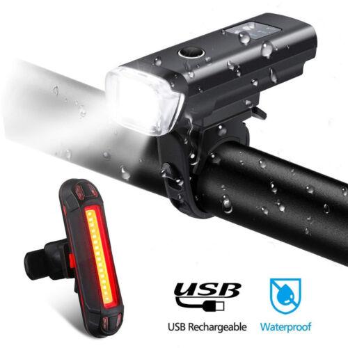 USB Bike Cycling LED Bicycle Light Intelligent Sensor Front+Rear Lights Lamp Set