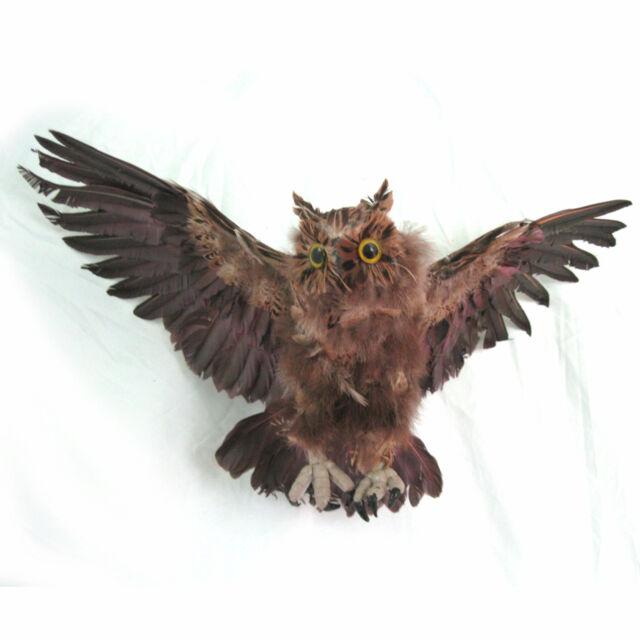 Flying Feathered Owl Lifesize Haunted House Hanging Halloween Prop 29