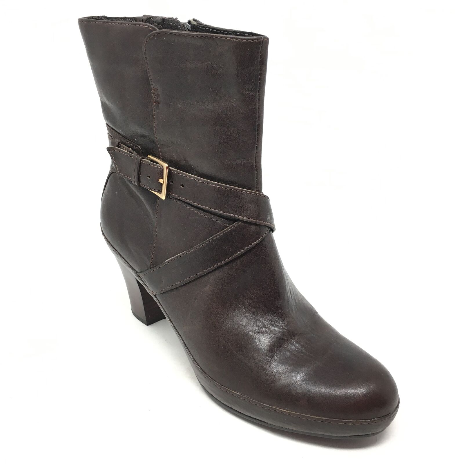 Women's Clarks Artisan Booties shoes Size 6.5M Brown Leather Side Zip Up AA2