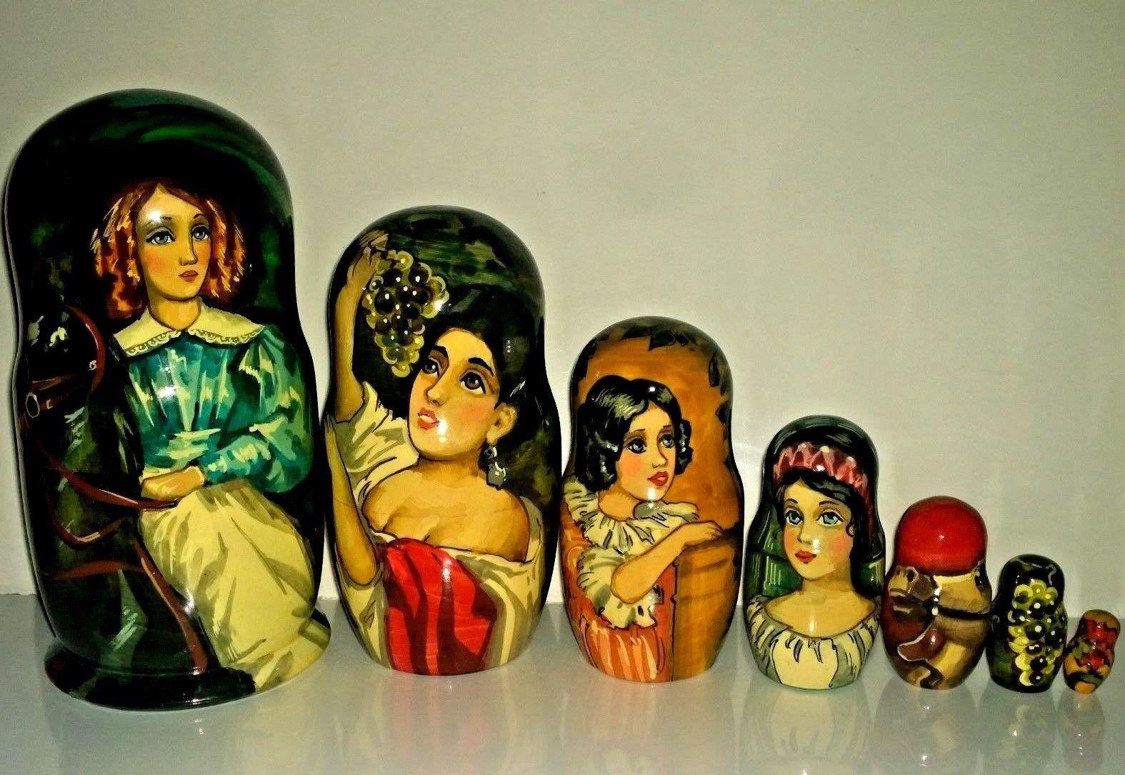 8 2 3  RUSSIAN 7p NESTING bambola LADY ON  HORSE MATRYOSHKA MATRESHKA BAautobusHKA  preferenziale