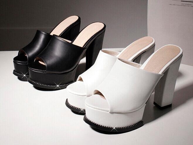 Scarpe alto ciabatte sabot sandali tacco alto Scarpe 11 cm bianco nero elegante 9303 ddce86