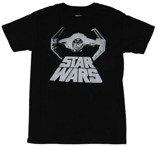 Star Wars Mens T-Shirt White Print Tie Fighter Over Word Crawl Logo