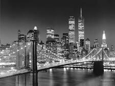 """Nueva York Skyline Pared Arte Cuadro Lienzo Grande 18"""" X 32"""" Blanco y Negro"""