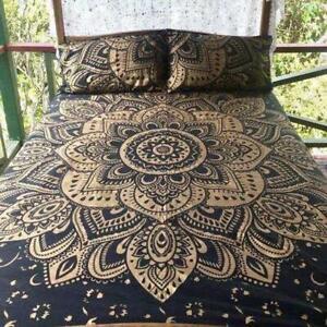 King-Size-Mandala-Hippie-Gypsy-Indian-Quilt-Duvet-Cover-Black-Gold-Bedding-Set