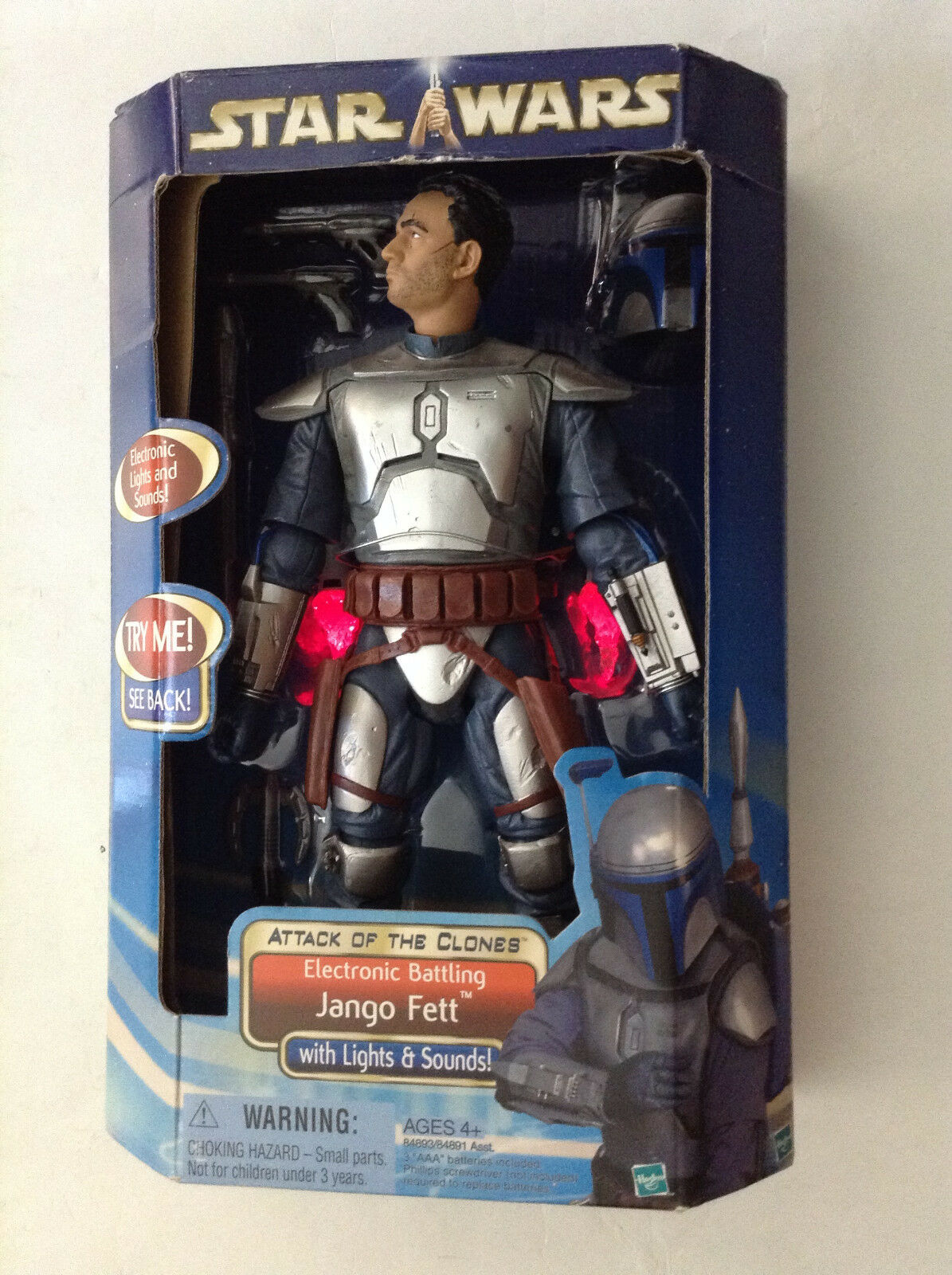 STAR WARS EPISODE II ATTACK OF THE CLONES ELECTRONIC FIGURE JANGO FETT 12  NEW