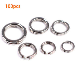 100Pcs-Set-Fishing-Solid-Stainless-Steel-Snap-Split-Ring-Lure-Tackle-Connector