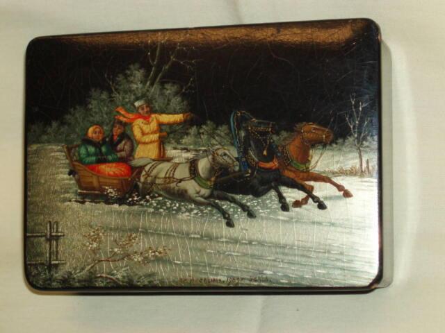 Vintage USSR scarce papier mache box Fedoskino Uskov triple horses lacquer!