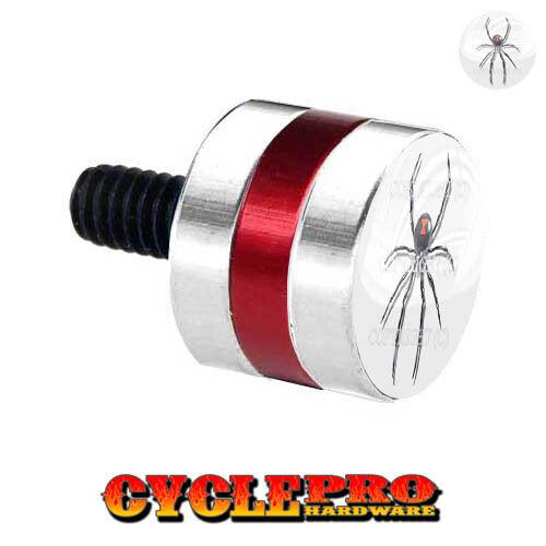 116 Silver /& Red Billet Fender Seat Bolt 96-Up Harley SPIDER ON WHITE